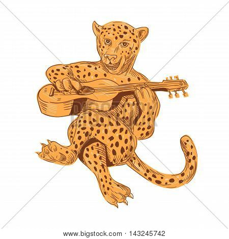 Drawing sketch style illustration of a jaguar sitting playing guitar viewed from front set on isolated white background.