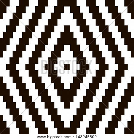 Pixel black and white ornament. Pixel geometric. Vector illustration