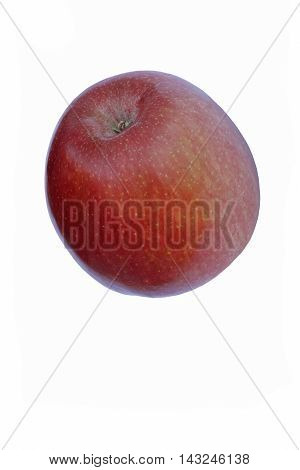 Fuji apple (Malus domestica Fuji). Hybrid between Red Delicius and Virginia Ralls Janet apples. Image of single apple isolated on white background