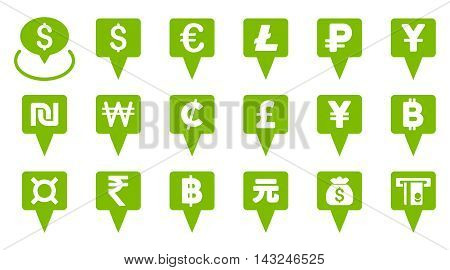 All Currency Map Pointers vector icons. Pictogram style is eco green flat icons with rounded angles on a white background.