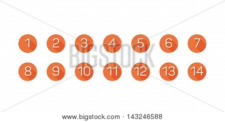 Fat orange numbers in oval and long shadows