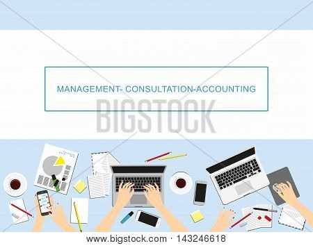 Concepts For Business, Marketing, Management, Accounting.Women in the workplace. Top view of female hands, desk, laptop screen.