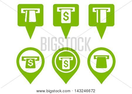 ATM Map Marker vector icons. Pictogram style is eco green flat icons with rounded angles on a white background.