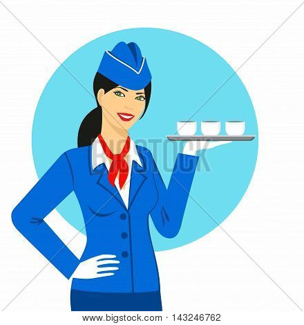 Illustration of stewardess dressed in blue uniform carrying a tray with cups in hand