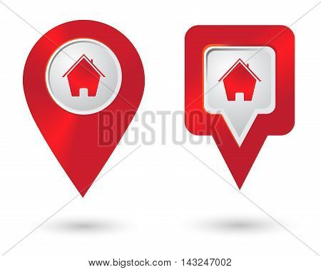 Location icon with house icons. Distance marker symbol. Vector illustration.
