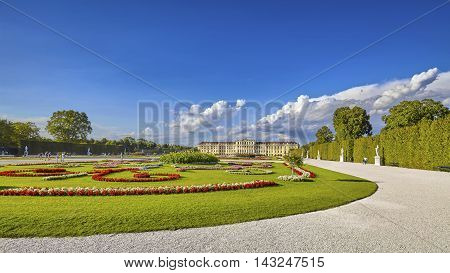 Vienna, Austria - August 14, 2016: Panoramic View Of Garden In The Schonbrunn Palace Complex, Former
