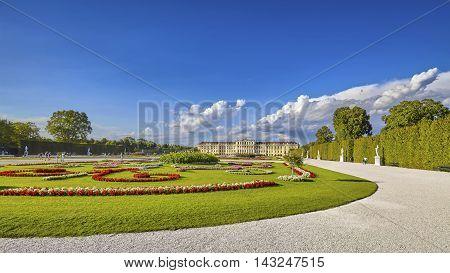 Vienna, Austria - August 14, 2016: Panoramic View Of Garden In The Schonbrunn Palace Complex, Former
