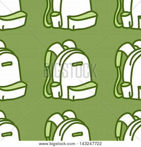 Seamless pattern with backpack. Vector illustration. green white wallpaper