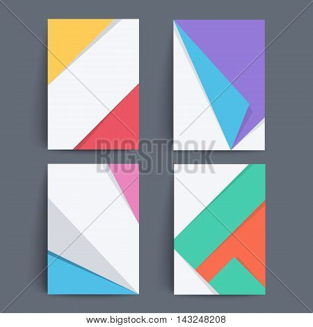 Set of covers with trendy material design. Applicable for Covers, Placards, Posters, Flyers and Banner Designs.