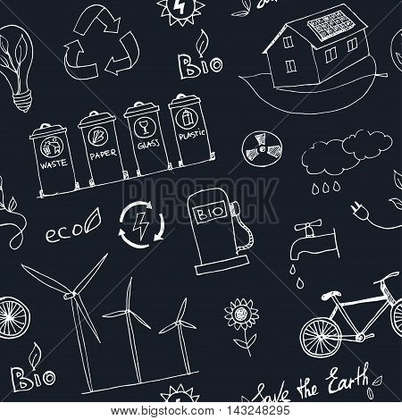 Ecology and recycle doodle seamless pattern vector illustration
