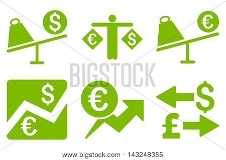 Currency Trading vector icons. Pictogram style is eco green flat icons with rounded angles on a white background.