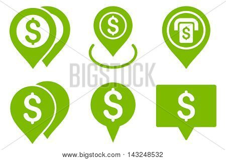 Dollar Map Pointer vector icons. Pictogram style is eco green flat icons with rounded angles on a white background.