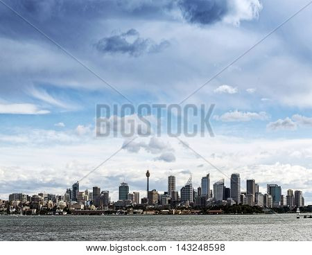 central sydney city CBD urban skyline in australia from the water taken from the manly ferry