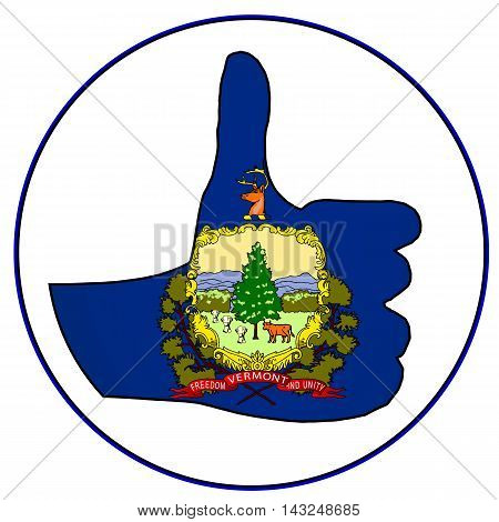 Vermont Flag hand giving the thumbs up sign all over a white background