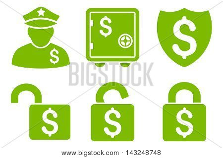 Financial Guard vector icons. Pictogram style is eco green flat icons with rounded angles on a white background.