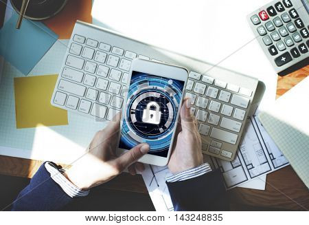 Technology Security Protection Padlock Hud Concept