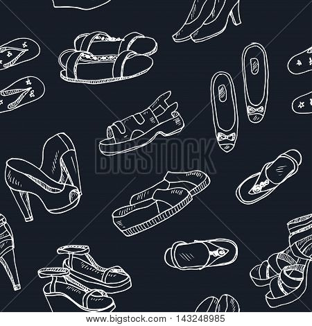Vector illustration of woman shoes seamless pattern. Hand-drown objects. Spring-summer fashion collection.