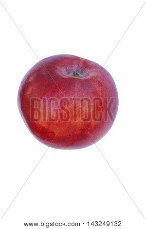 Cortland apple (Malus domestica Cortland). Hybrid between Ben Davis and McIntosh apples. Image of single apple isolated on white background