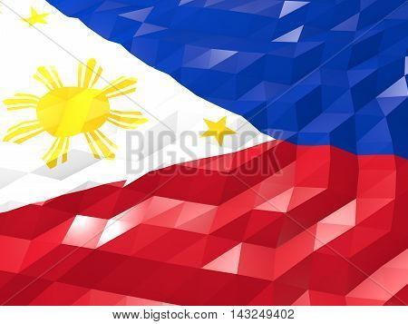 Flag Of Philippines 3D Wallpaper Illustration
