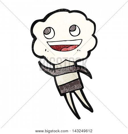 freehand drawn texture cartoon cute cloud head creature