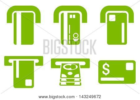 Payment Terminal vector icons. Pictogram style is eco green flat icons with rounded angles on a white background.