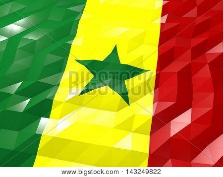 Flag Of Senegal 3D Wallpaper Illustration