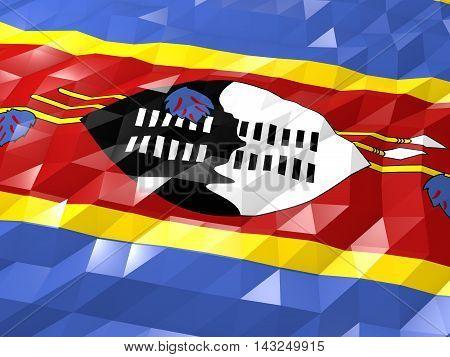 Flag Of Swaziland 3D Wallpaper Illustration