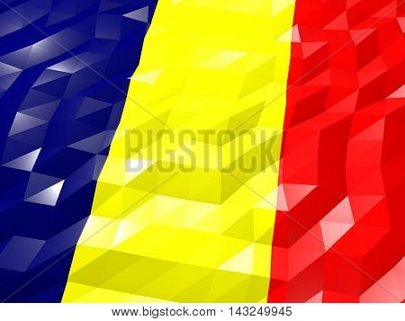 Flag Of Chad 3D Wallpaper Illustration