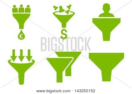 Sales Funnel vector icons. Pictogram style is eco green flat icons with rounded angles on a white background.