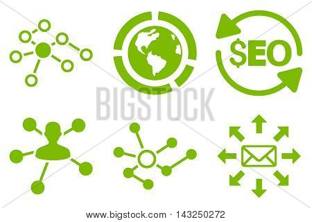 Seo Link Building vector icons. Pictogram style is eco green flat icons with rounded angles on a white background.