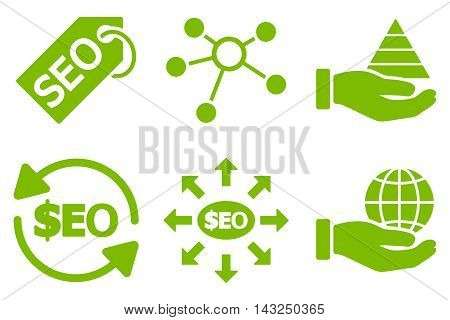 Seo Marketing vector icons. Pictogram style is eco green flat icons with rounded angles on a white background.
