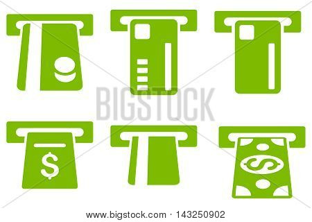 Ticket Terminal vector icons. Pictogram style is eco green flat icons with rounded angles on a white background.