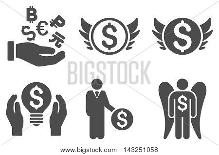 Angel Investor vector icons. Pictogram style is gray flat icons with rounded angles on a white background.