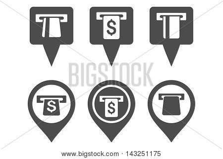 ATM Map Marker vector icons. Pictogram style is gray flat icons with rounded angles on a white background.