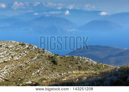 Panoramic view of Mountain of Lefkada and sea, Ionian Islands, Greece