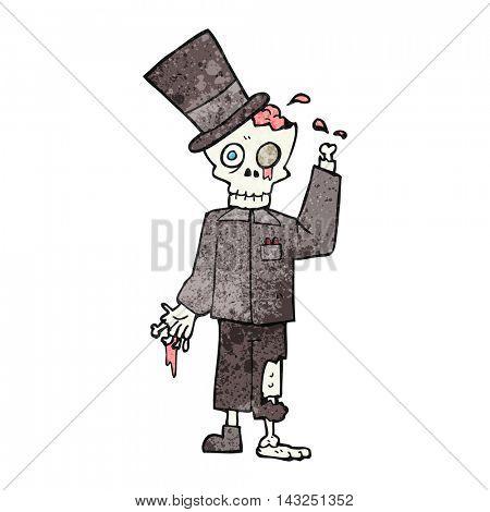 freehand drawn texture cartoon posh zombie