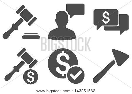 Auction vector icons. Pictogram style is gray flat icons with rounded angles on a white background.