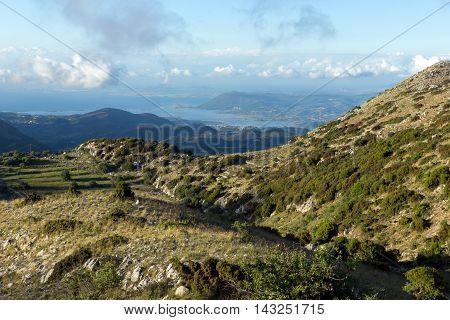 Amazing landscape of mountain and panorama of Lefkada, Ionian Islands, Greece