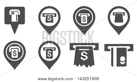 Bank ATM Pointers vector icons. Pictogram style is gray flat icons with rounded angles on a white background.