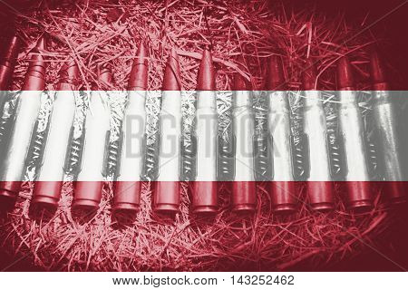 close up on ammo theme with blending Austria flag