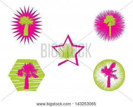 Isolated Silhouette of Palm Trees on White Background. Vector Illustration. EPS10