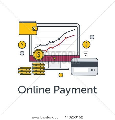 Set of flat thin line icons. E-commerce or payment online illustration. Monitor with graph, coins, wallet and credit card