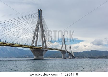 Amazin view of The cable bridge between Rio and Antirrio, Patra, Western Greece
