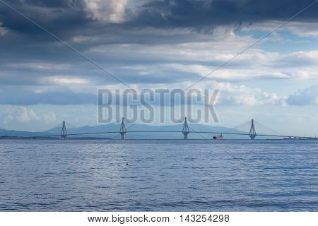 Panorama of The cable bridge between Rio and Antirrio from Nafpaktos, Patra, Western Greece