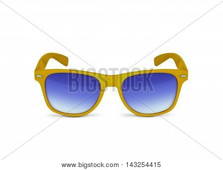 Yellow sunglasses isolated over the white background. With clipping path