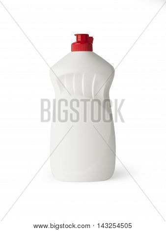 White plastic bottle for liquid laundry detergent or cleaning agent or bleach or fabric softener.With clipping path