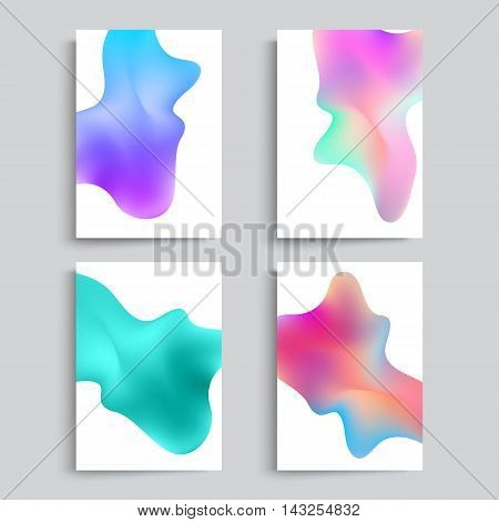 Fluid colors backgrounds set. Abstract shapes with hipster colors. Applicable for gift card,cover,poster. Vector template.