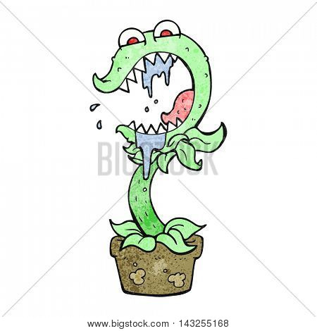 freehand drawn texture cartoon carnivorous plant