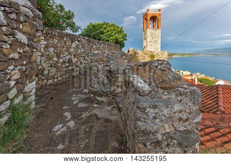 Seascape with Clock tower in Nafpaktos town, Western Greece