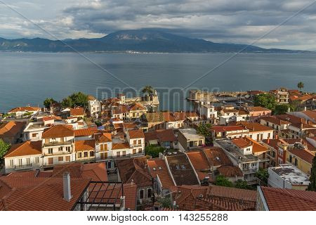 Amazing panorama Panorama with Fortification at the port of Nafpaktos town, Western Greece
